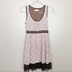 EUC A'reve blush lace sleeveless ruffle dress